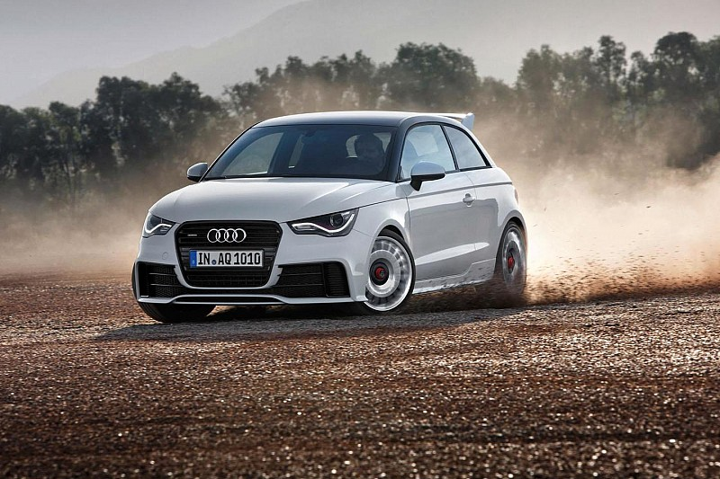 Audi A1 quattro driven rally style in Munich construction site [video]