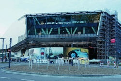 The new Porsche museum: A view of the prospective glass façade (August 2008)